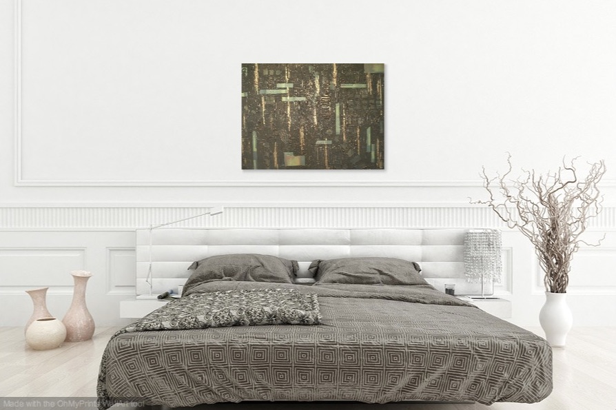Shown hanging horizontally over a bed.
