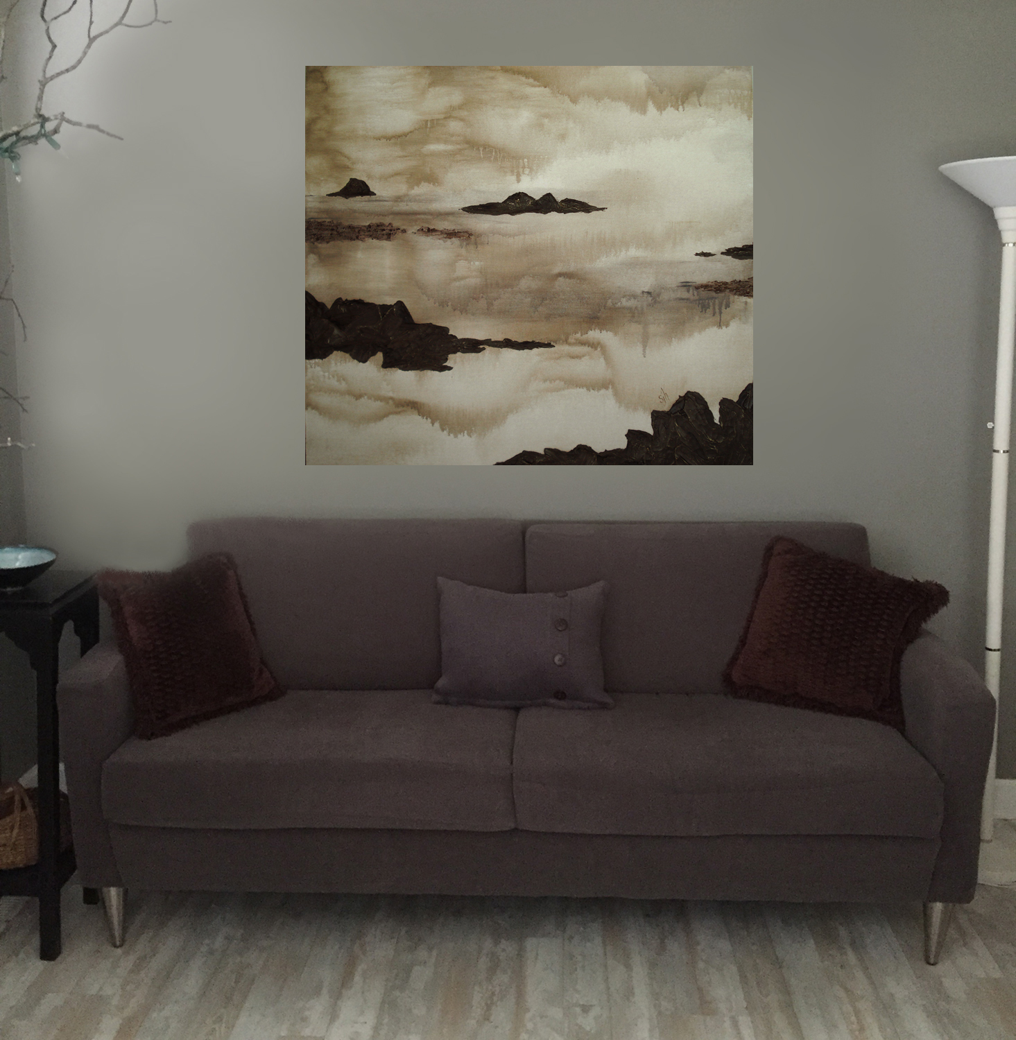 Quietude   - 48 x 48 x 1.5 - Shown hanging in a living room setting.