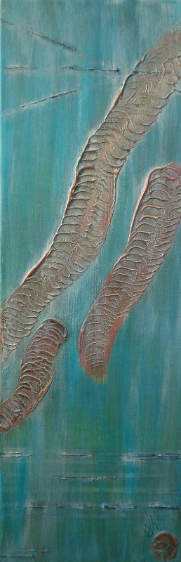 Fossil  Textured Acrylic/Mixed Media Stretched Gallery Canvas 24 x 8 in.