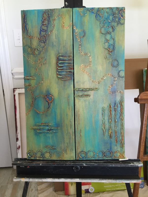 Restoration  - Side by side view on easel in 1, 2 order.