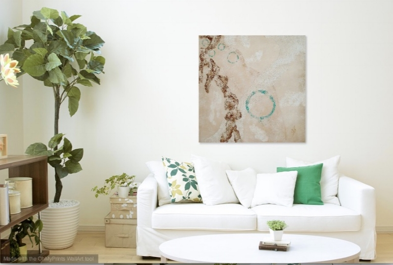 """Calm Pursuit   - 36"""" x 36"""" shown in living room setting."""