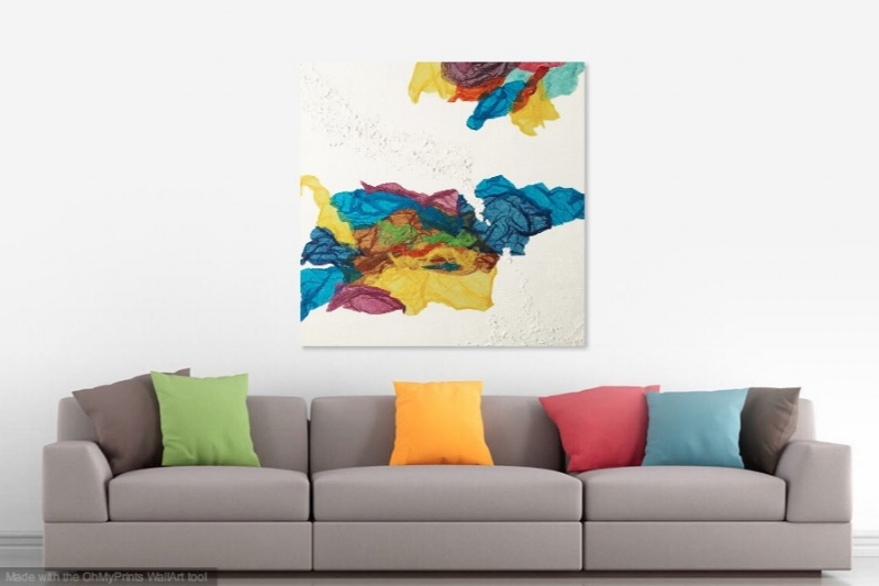 Kaleidoscope Dreams   shown in living room with white walls.