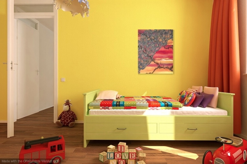 Shown in a yellow room.