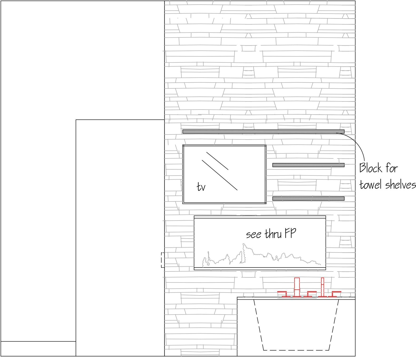 AutoCAD drawing of T.V. wall in bathroom with see through fireplace
