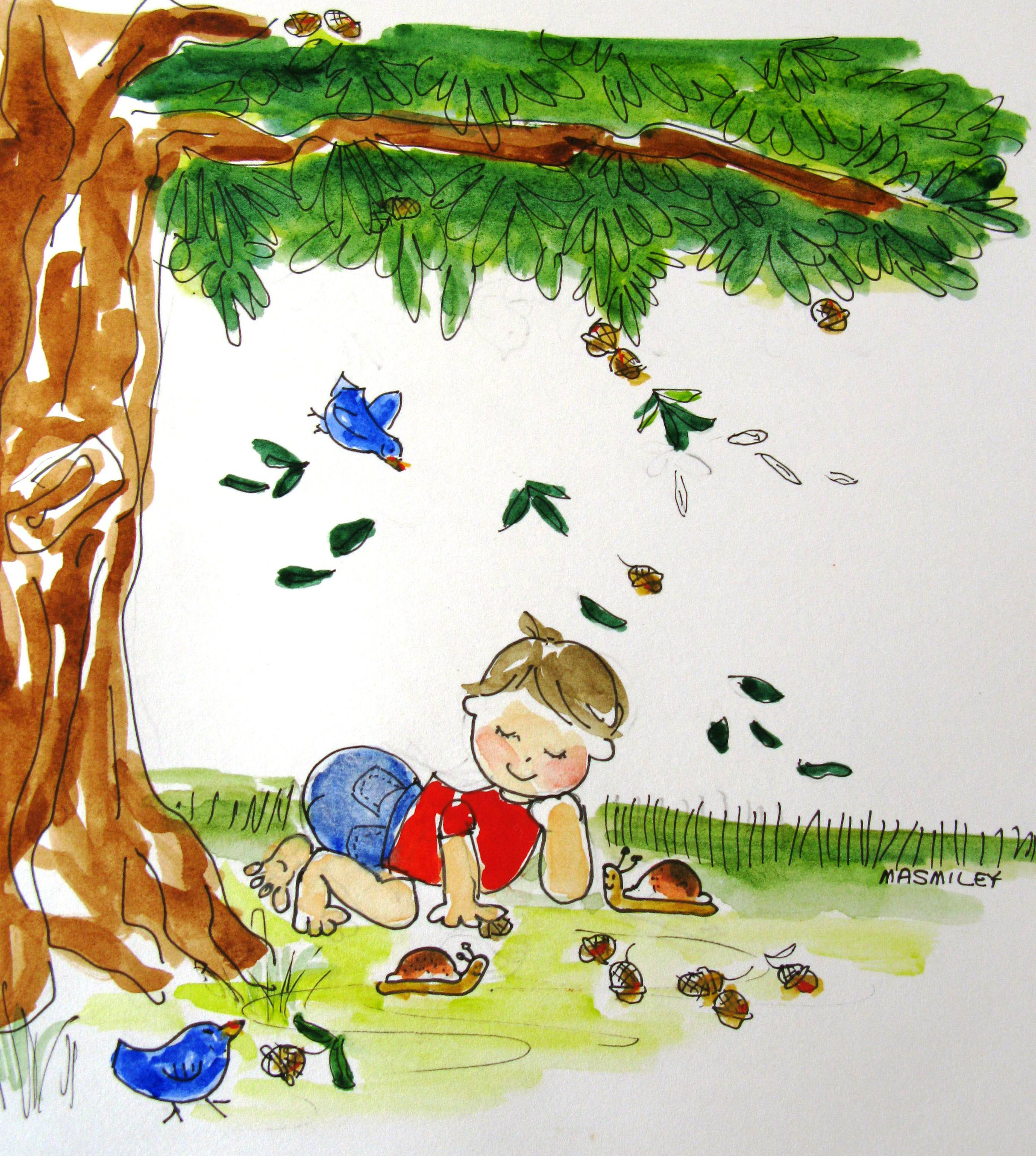 Mason under a tree