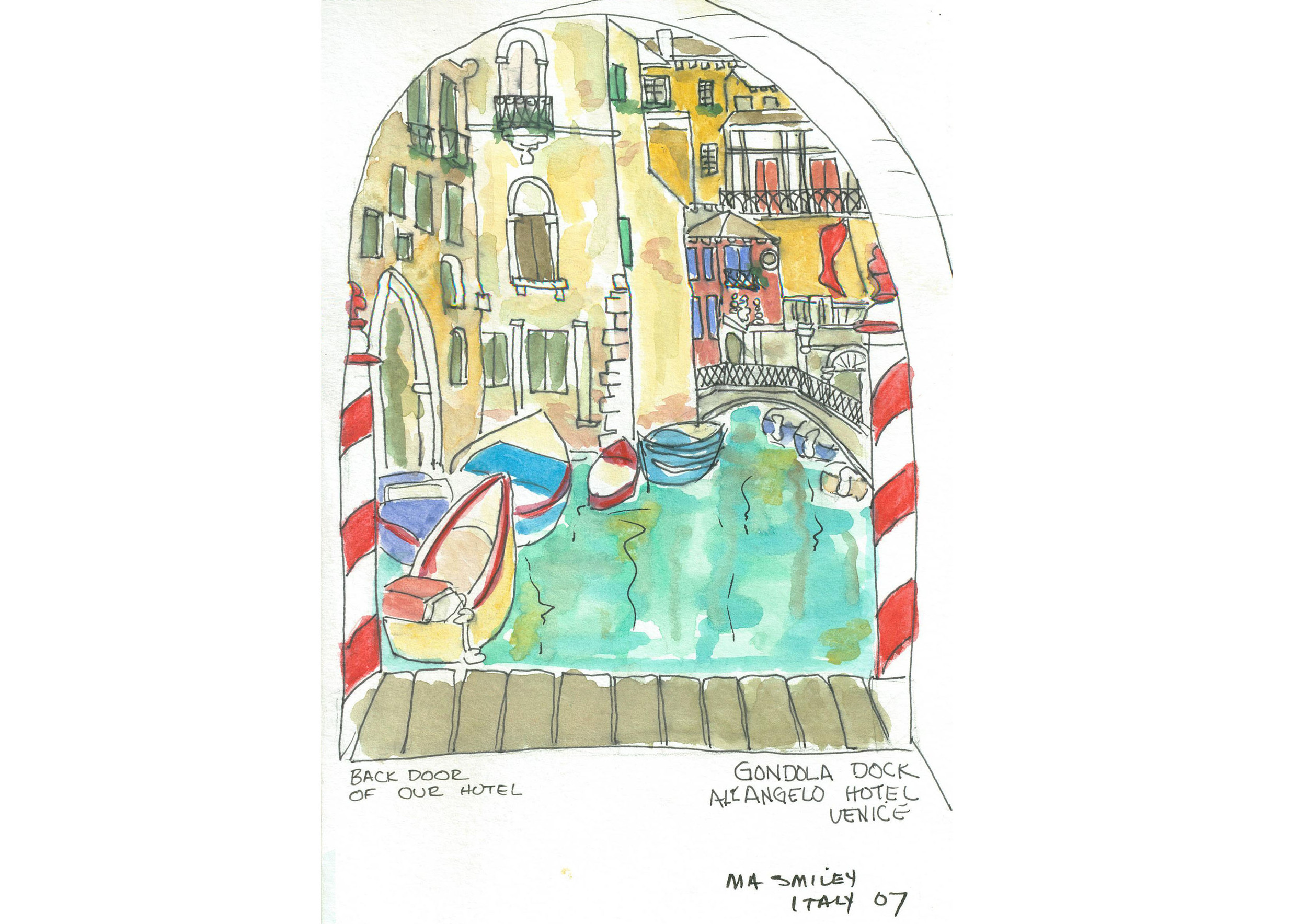 One of 30 watercolor drawings done plein aire on the run during a trip to Italy for Mary Anne's trip album.