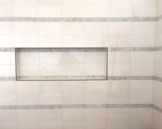 Full Shower Detail with Tile layout and cubby