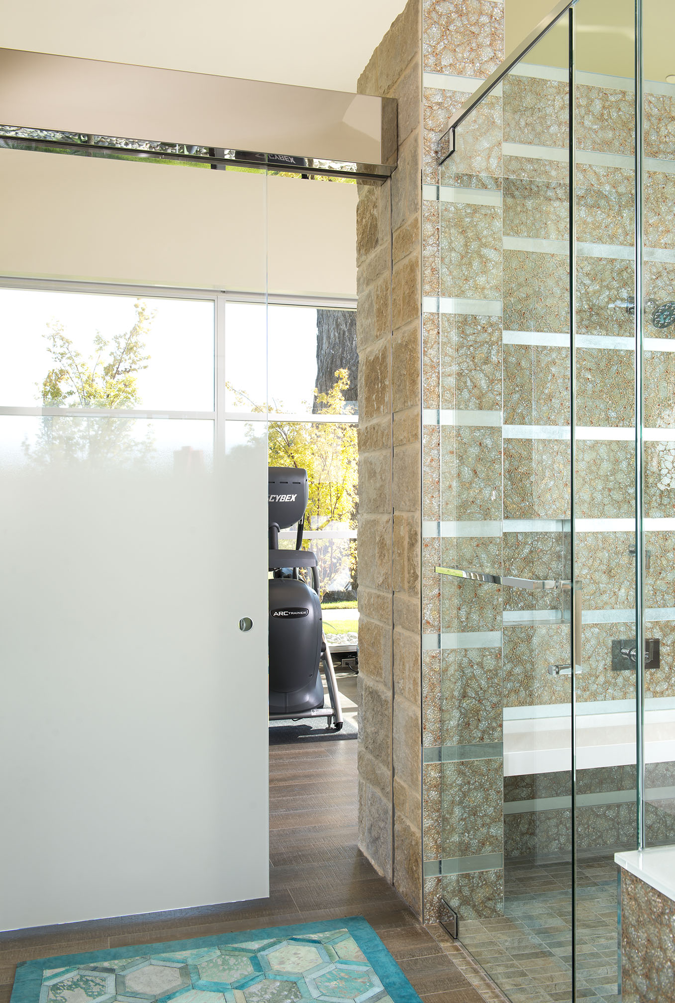 Mary Anne Smiley Interior Design Ombre Glass Sliding Doors