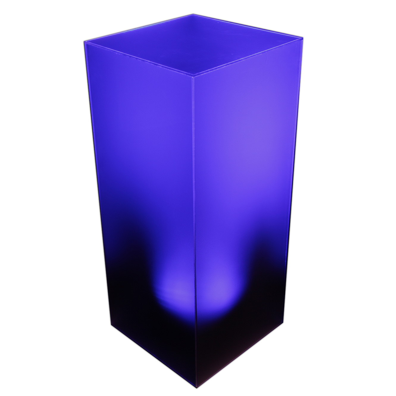 """Lighted Ice Pedestal (Frosted Acrylic with Wireless LED). 18"""" x 18"""" x 42"""""""