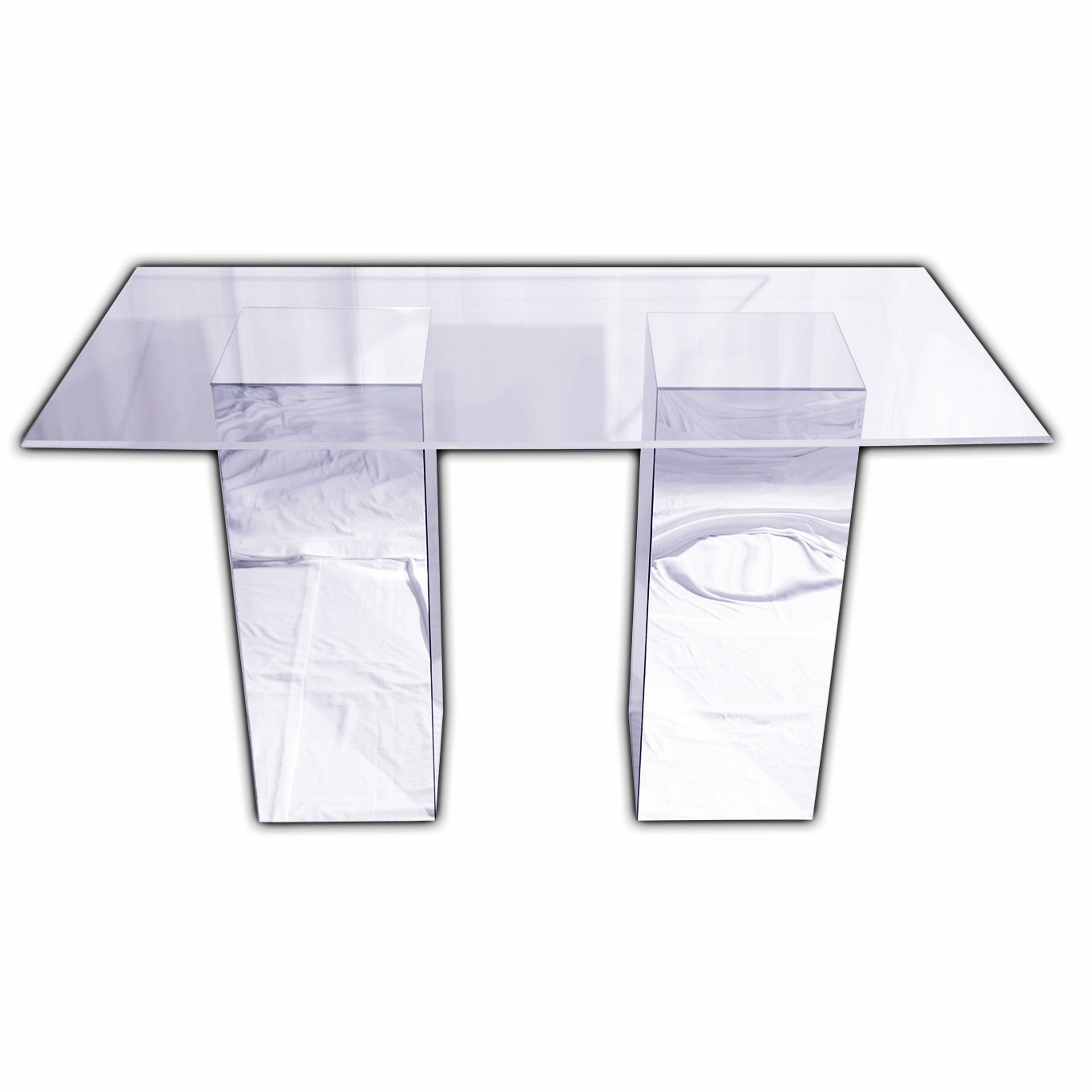 """Reflection Bar Table (Mirror Bases with Clear Acrylic Top). 3' x 6' Top. 16"""" x 16"""" x 42"""" Bases."""