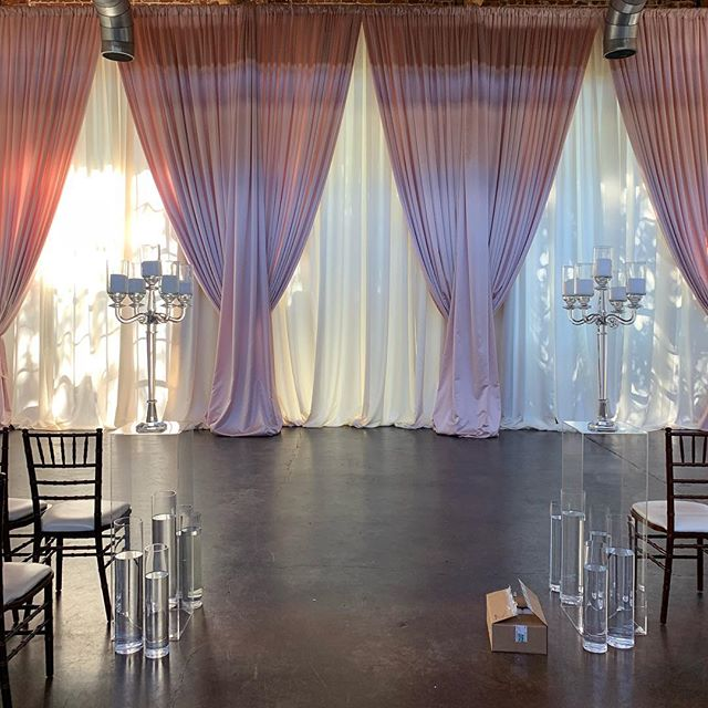We teamed up with @awbeach and we can't wait to see the finished look at @foundryatpuritanmill Ivory with blush in the front with lush swags make for a dramatic yet soft backdrop to any altar! #weddings #drape #eventdecor #altar #backdrop #uniqueevents #uniqueeventelements