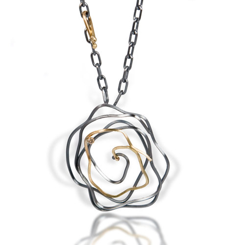 Whirlpool necklace - Made of oxidized silver and 18kgold necklace with champagne diamond