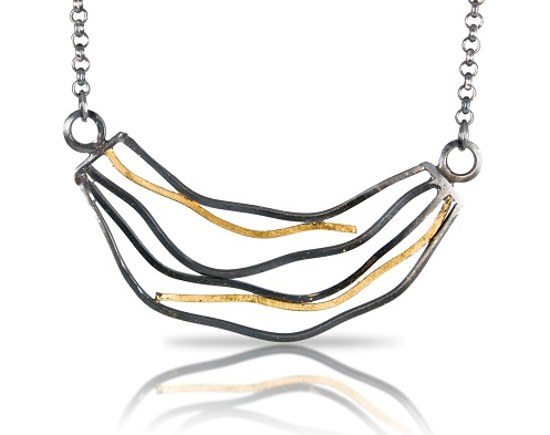 Another semi-custom design based off of theLarge Wave Necklace with Diamonds.