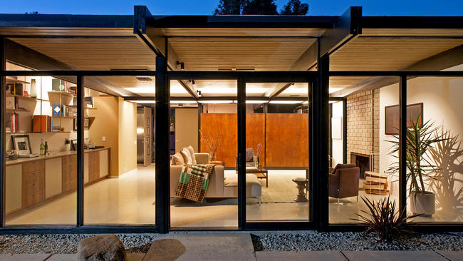 The 1950s post-and-beam in Sherman Oaks was restored and updated in keeping with architect Richard Dorman's original footprint.