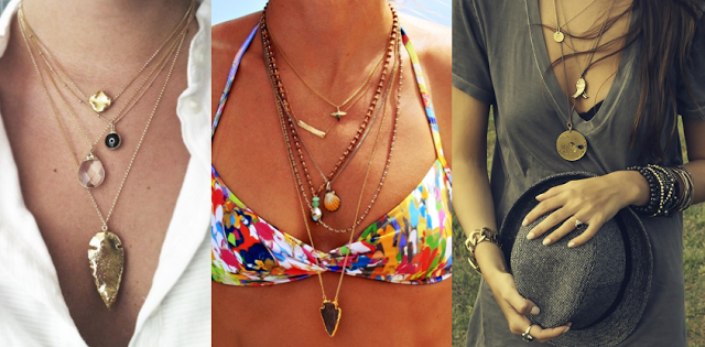Layer longer necklaces to draw the eye from collarbone to outfit.