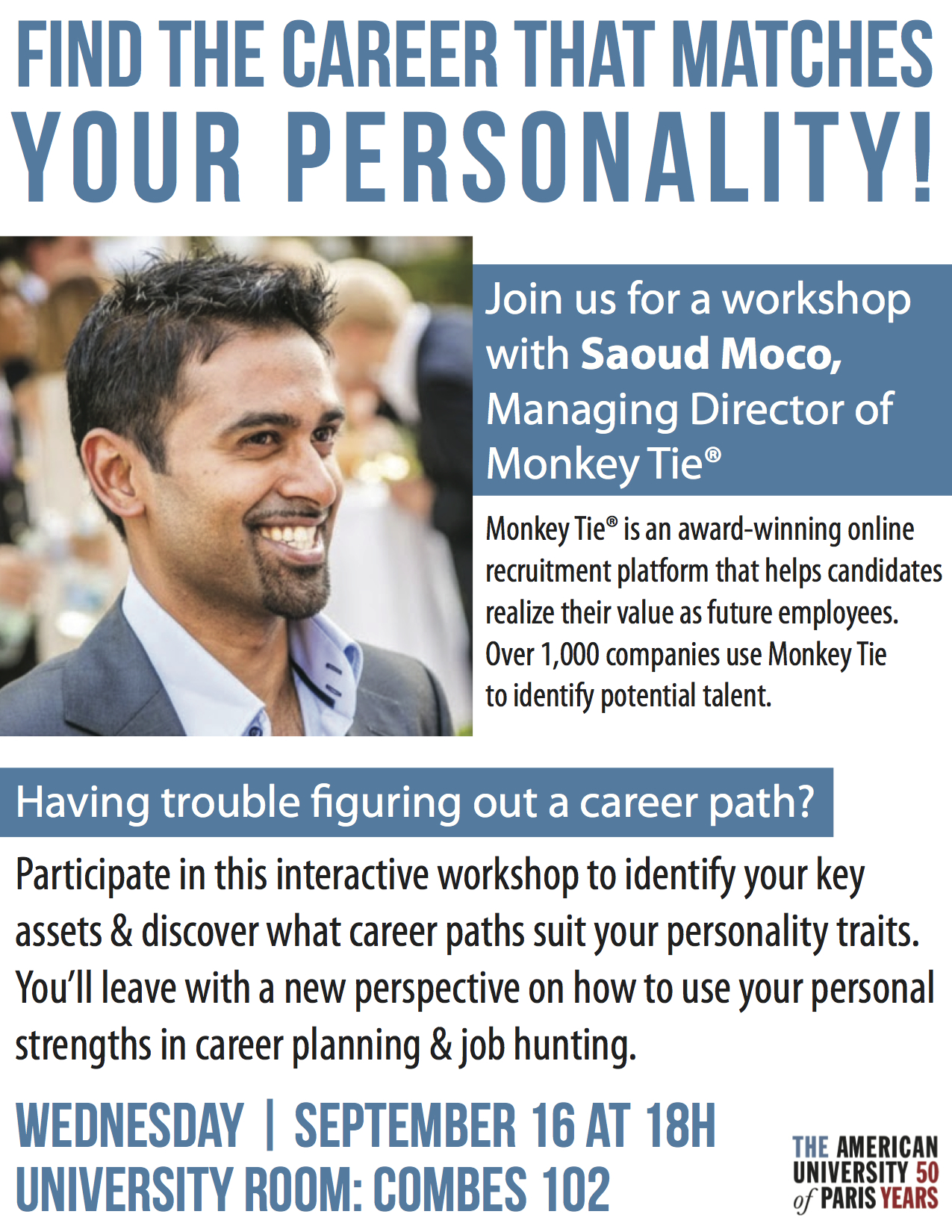 A flyer designed for the Career Development Office at the American University of Paris.