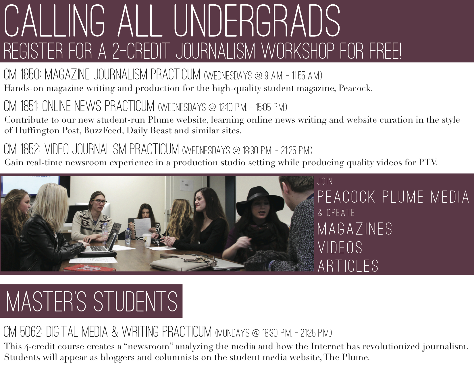 A flyer designed for American University of Paris's Student Media.