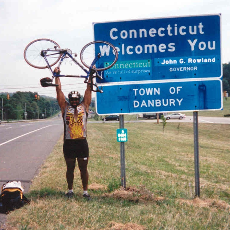 Connecticut - This state line pic is from my first trip across the US in 2002!