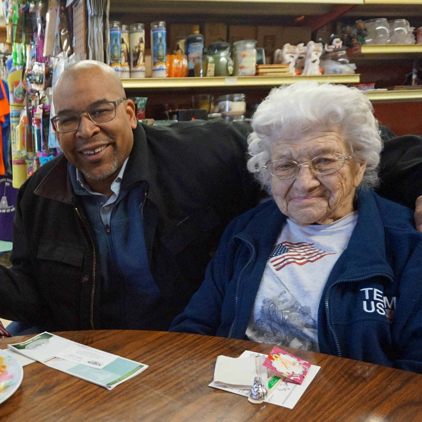 Kansas - For Valentines Day '16, I staged a Hug and High5 Party at the heart- geographic center - of the country in Lebanon, KS. There, I met these two lifelong friends one is 100 and the other is 99-years old.