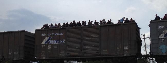 Central American migrants arriving in Ixtepec, Mexico on  La Bestia .