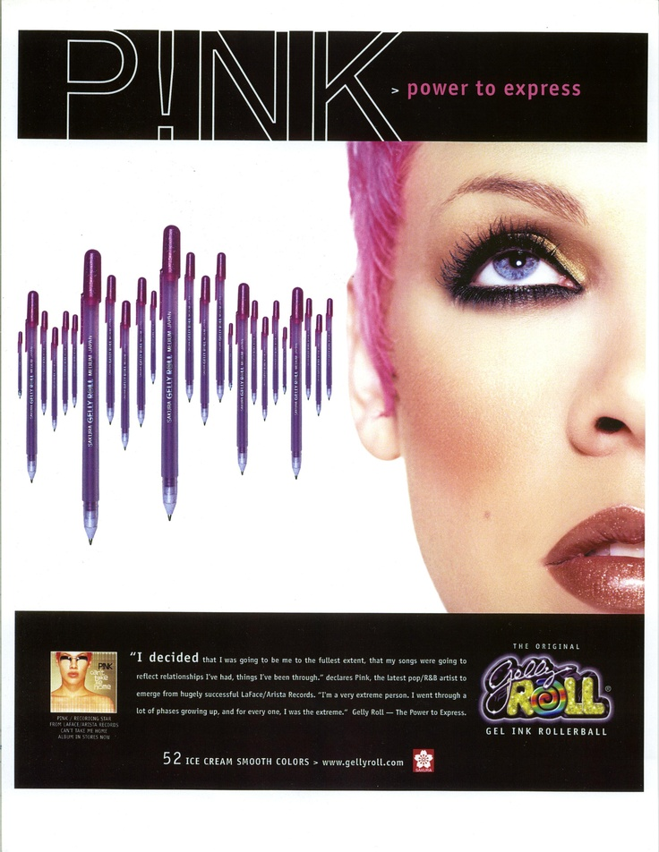 This American ad from the 1990s features pop singer P!nk. Gelly Roll's vivid colors give teens a perfect way to express themselves.