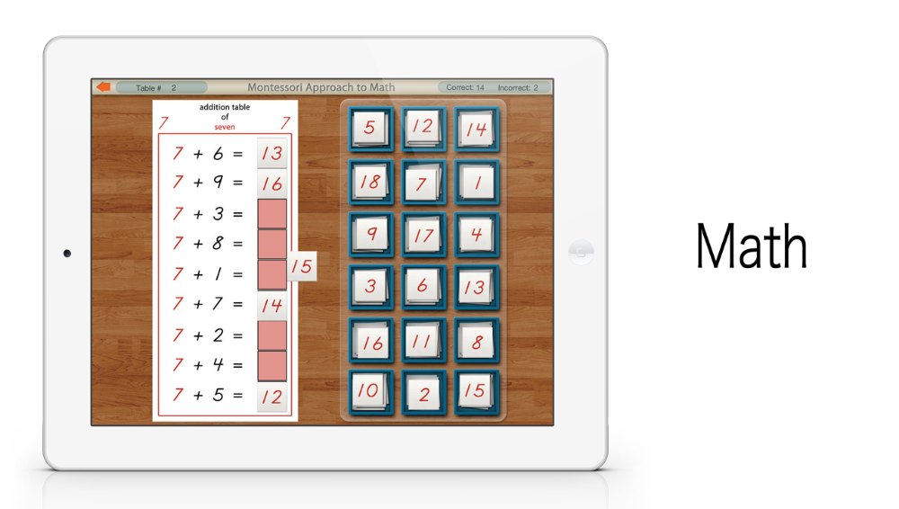 Addition Tables app by Mobile Montessori