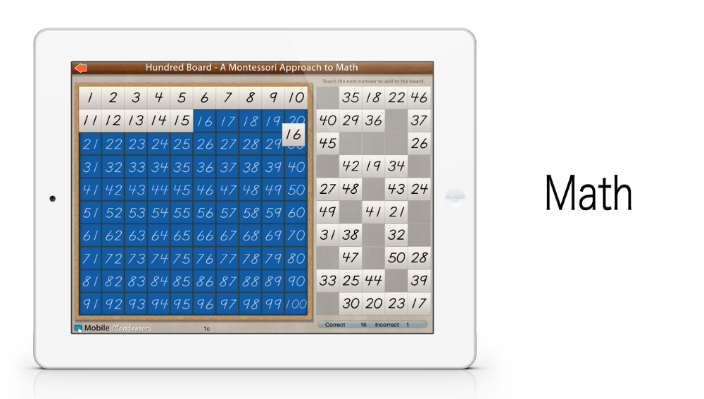 Hundred Board iPad app by Mobile Montessori