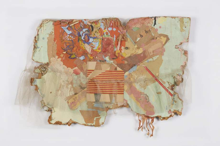 Bruce Conner,  MEXICO COLLAGE , 1962 Netting, paper, paint, ink stamps, fringe, bell, and costume jewelry on Masonite di Rosa Collection, Napa, California; ©Conner Family Trust, San Francisco, California / Artists Rights Society (ARS), New York, New York