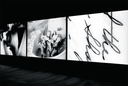 Bruce Conner, THREE SCREEN RAY, (2006, three-channel video installation, b&w/sound,5min. 23sec.);Installation view, Museum of Modern Art, New York, 2016; © Conner Family Trust, San Francisco;Photo: Martin Seck