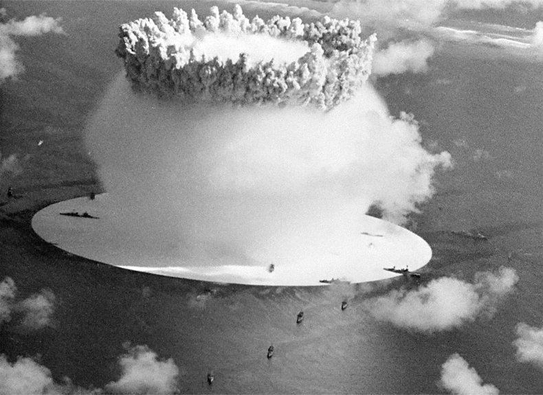 Bruce Conner's CROSSROADS (1976), a 35-mm movie, combines some of the film shot by 700 cameras that recorded the U.S. nuclear bomb test on Bikini Atoll in the South Pacific in 1946. It is featured in  Bruce Conner: IT'S ALL TRUE ;©Conner Family Trust, San Francisco