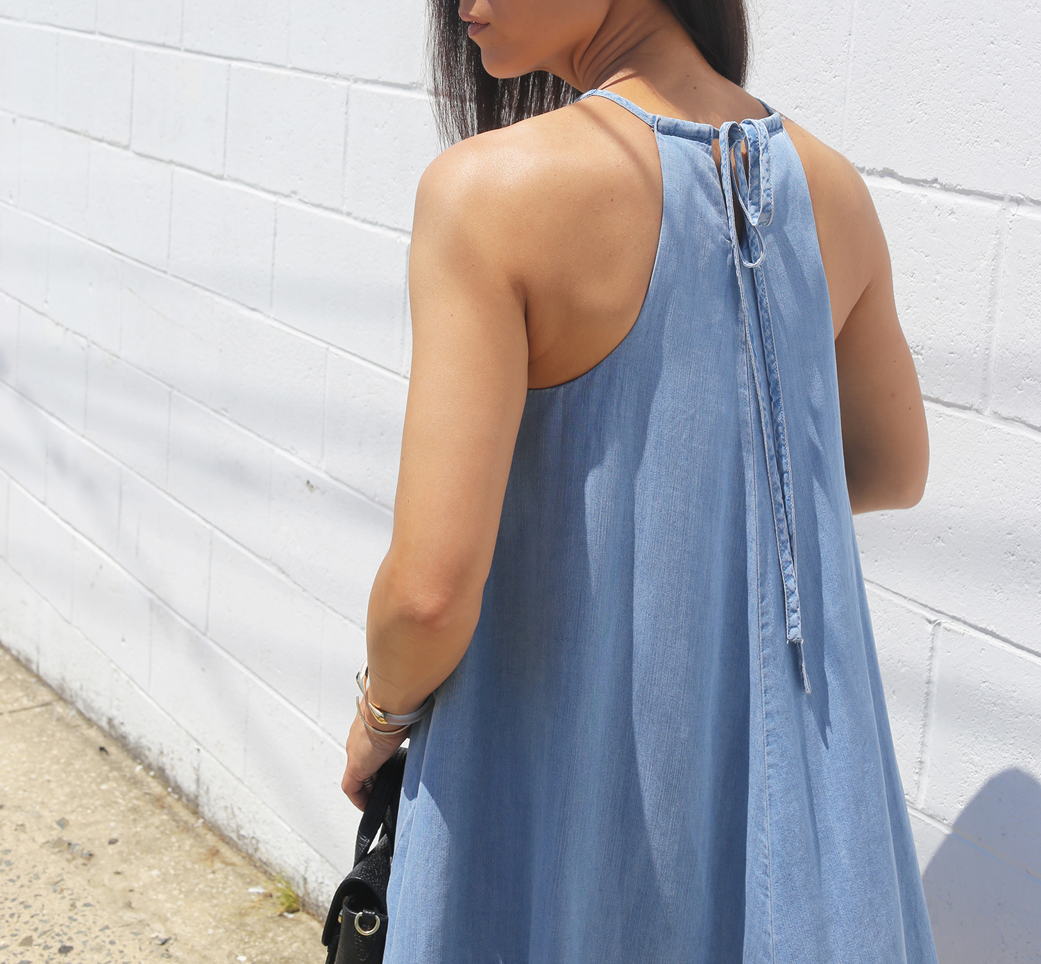 halter chambray dress