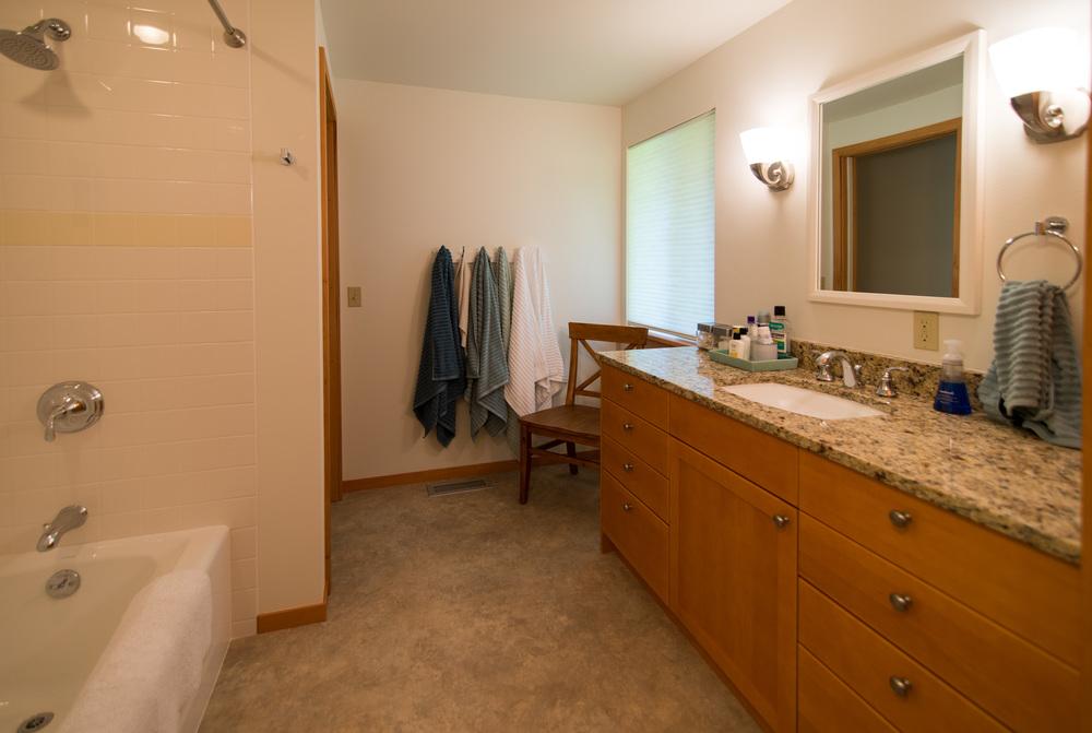 Reynolds Remodel Upstairs Bathroom Bathtub and Vanity