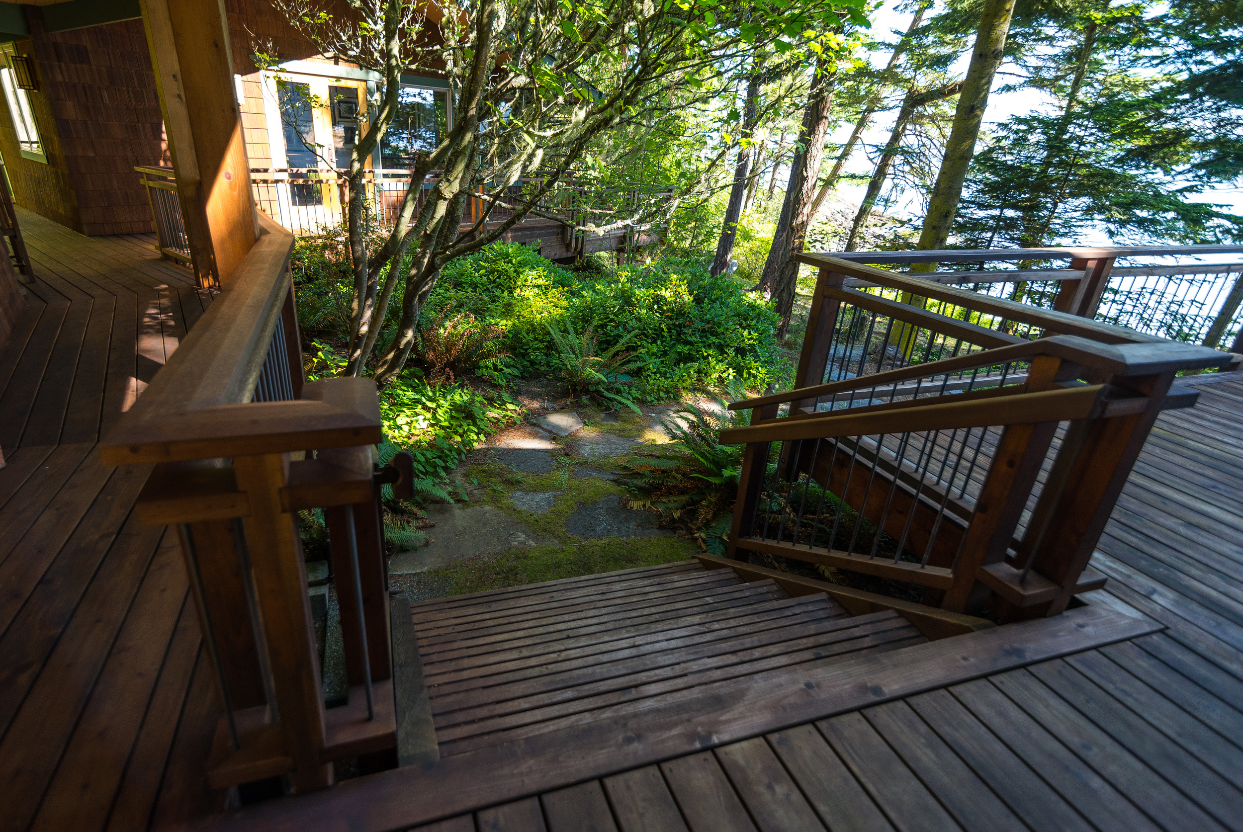 Stairs off side deck......