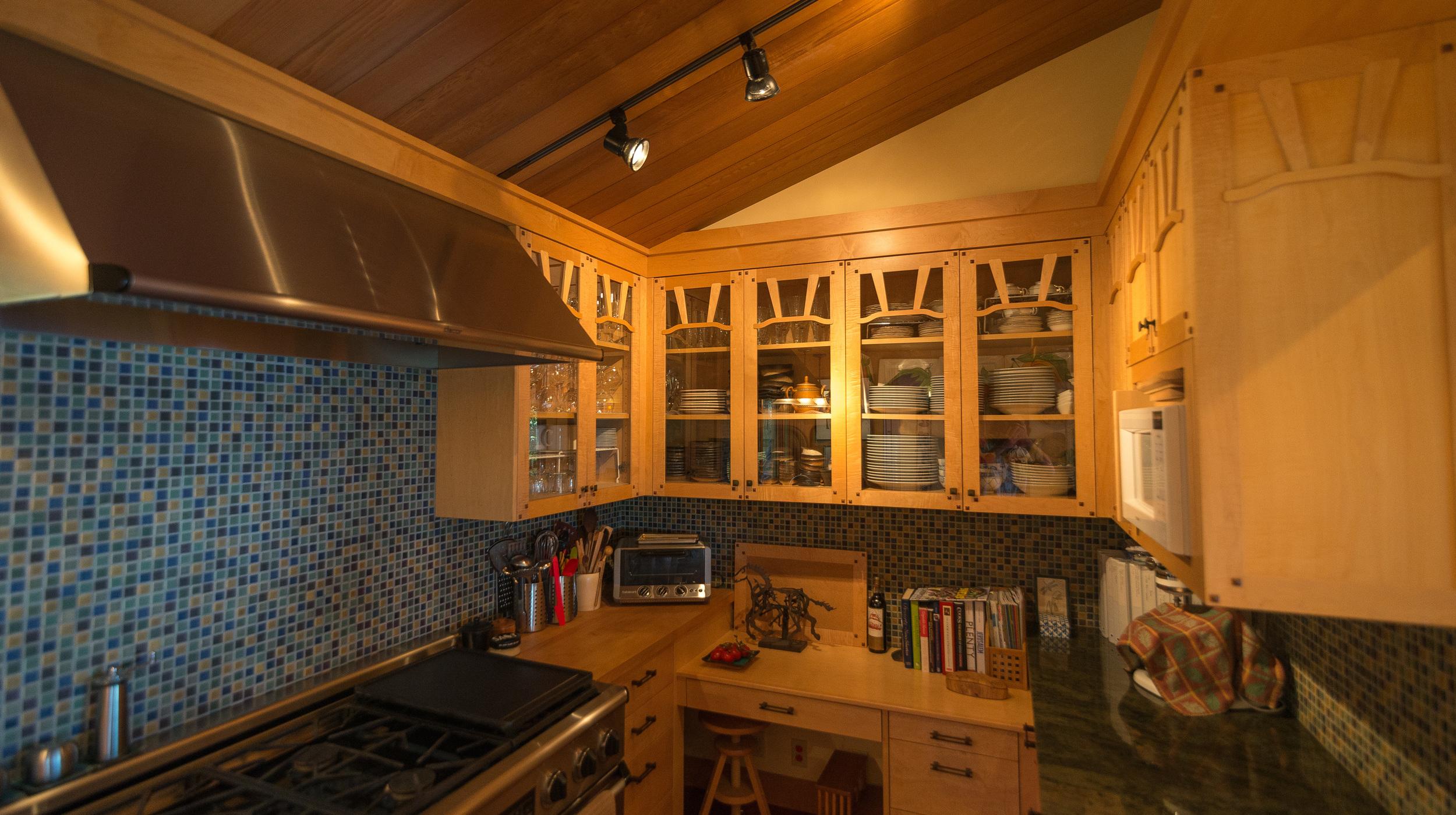 """Figured Maple Custom cabinets......Pratt & Larson 1""""x1"""" hand painted custom tile"""