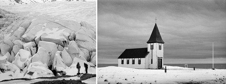 Vatnajökull Ice Cap, Iceland        Hellnar Church, Iceland