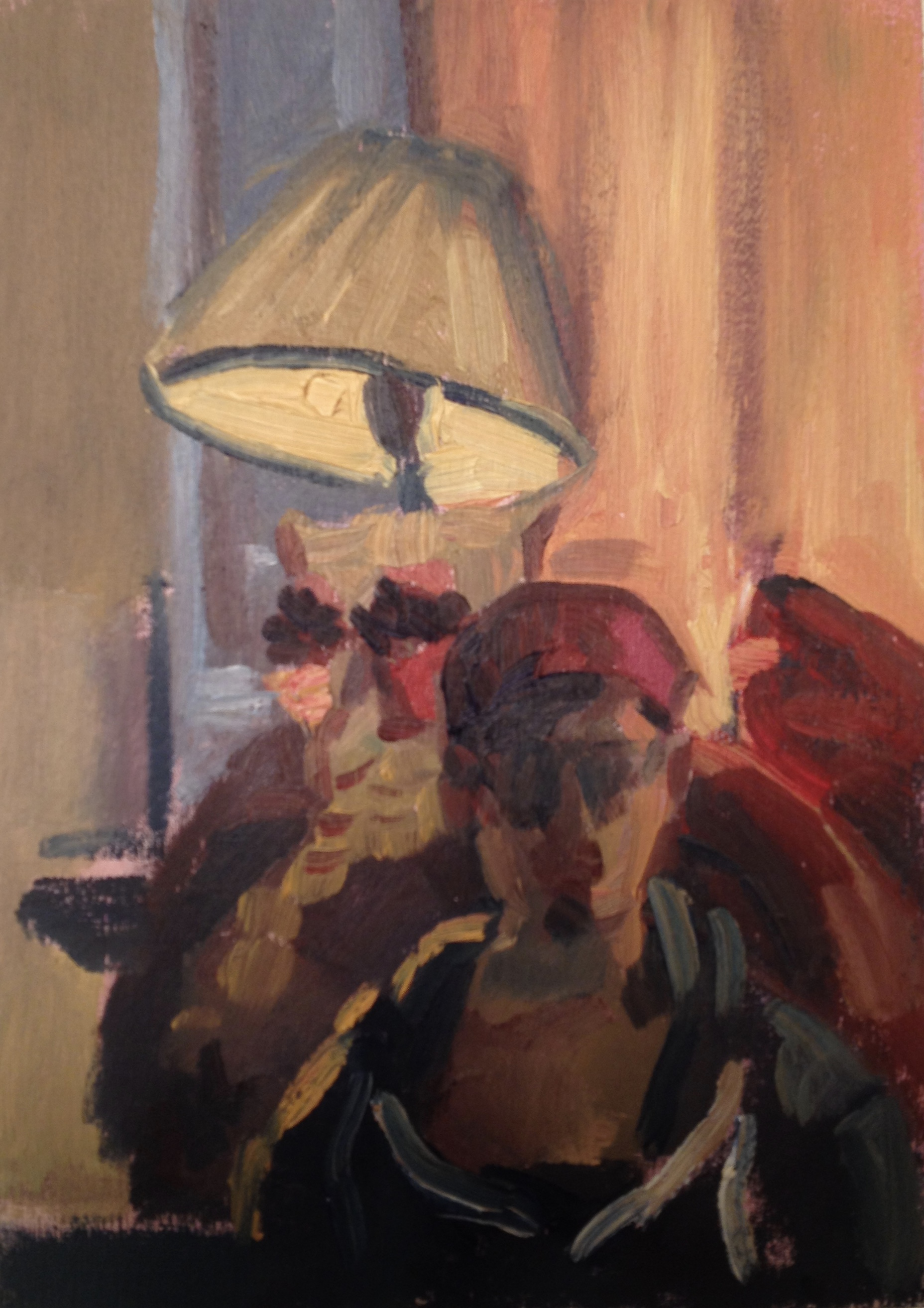 Self Portrait with Owl Lamp,   2015  Oil on panel