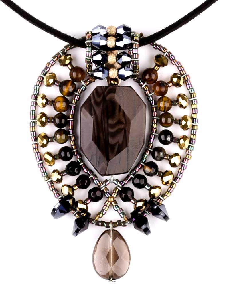 Lemon Leaf Fossilized Wood - pendant