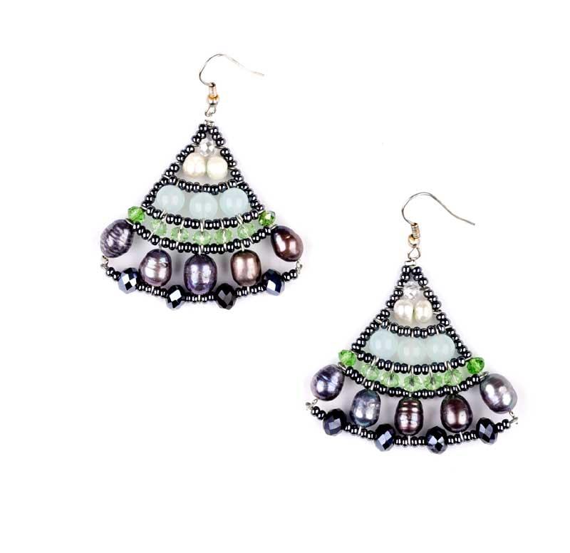 Mermaid Sky Jade - earrings