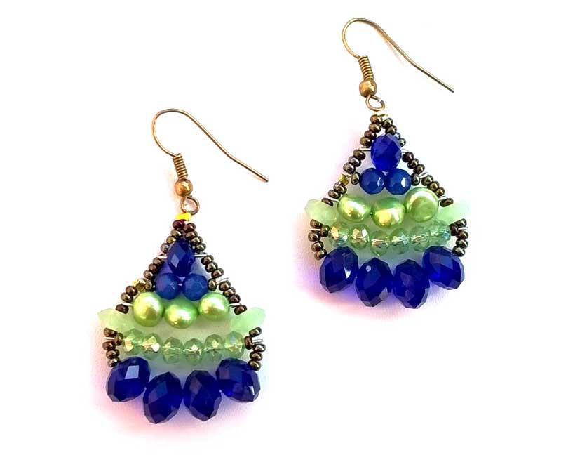 Little Mermaid Sapphire & Green Pearl - earrings