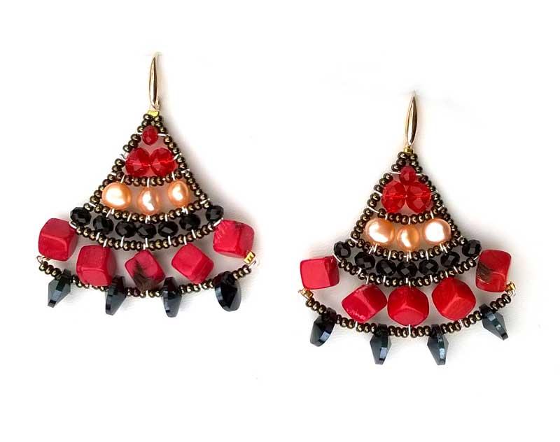 Mermaid Coral & Pearl - earrings