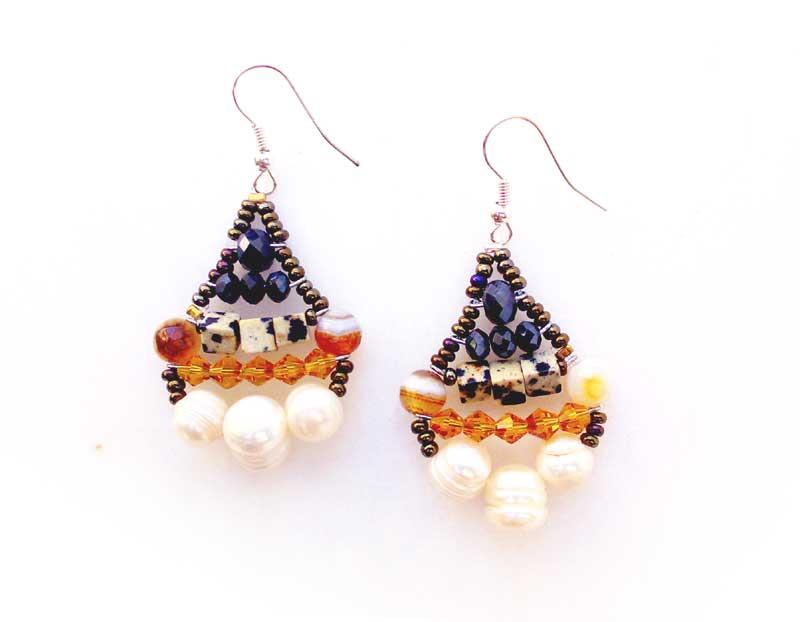 Little Mermaid Dalmatian Jasper - earrings
