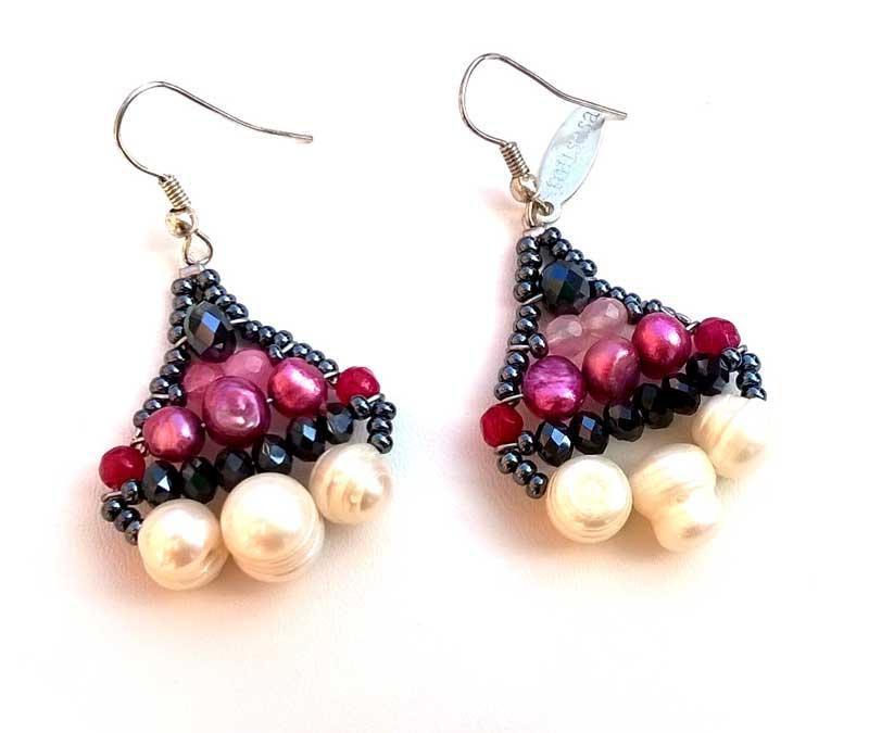 Little Mermaid Ruby & Pearl - earrings