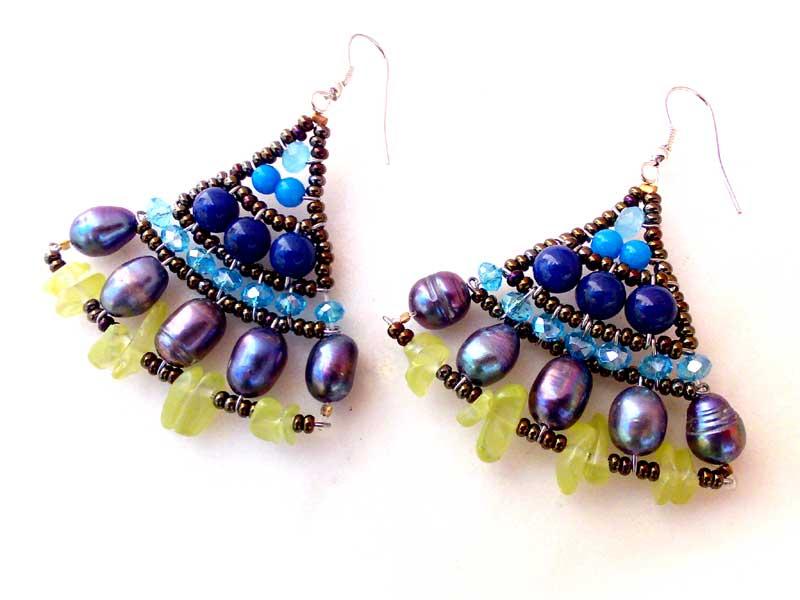 Mermaid Jade & Lapis - earrings