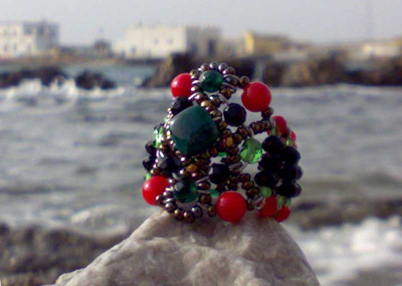 Sheherezade Coral & Emerald - ring