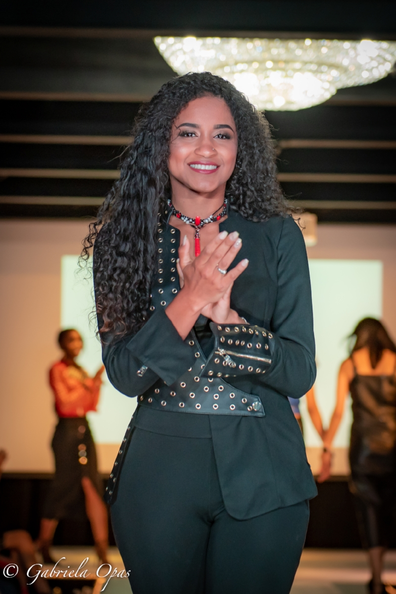 """The """"Hydra F1 Ferrari"""" necklace on the runway at SFW Montreal with Malika Rajani leather collection."""