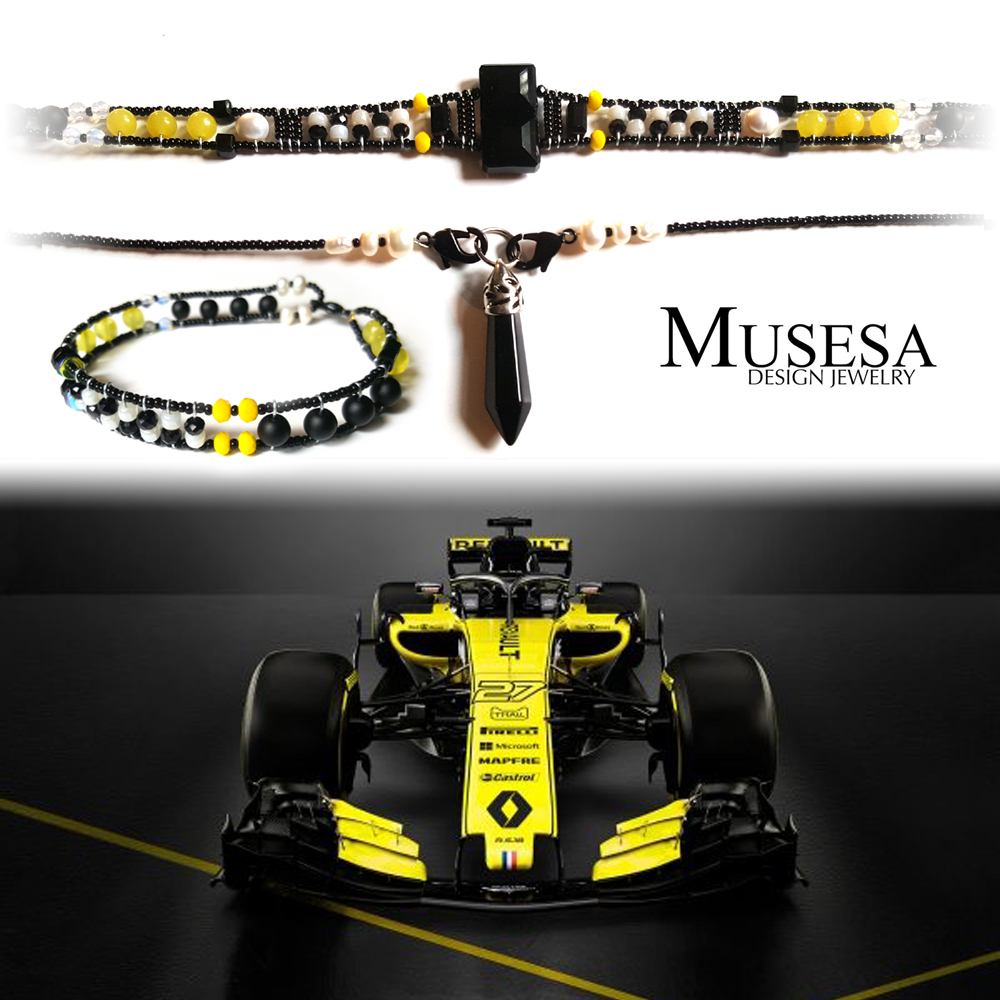 Hydra F1 Renault   The Renault Formula 1 inspired custom design.  Bracelet and choker necklace with interchangeable pendant.  Onyx, Moonstone, Agate, Freshwater Pearl, Black Stone, Swarovski crystals.