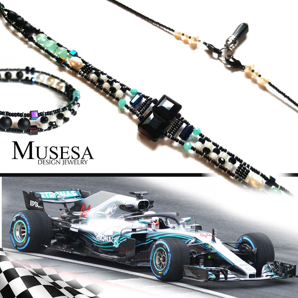 Hydra F1 Mercedes   The Petronas Mercedes Formula 1 inspired custom design.  Bracelet and choker necklace with interchangeable pendant.  Onyx, Amazonite, Agate, Freshwater Pearl, Black Stone, Swarovski crystals.