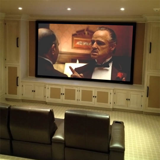 Personalized Home Theater Beige Screen Brown Leather Seats HTE NY.jpg
