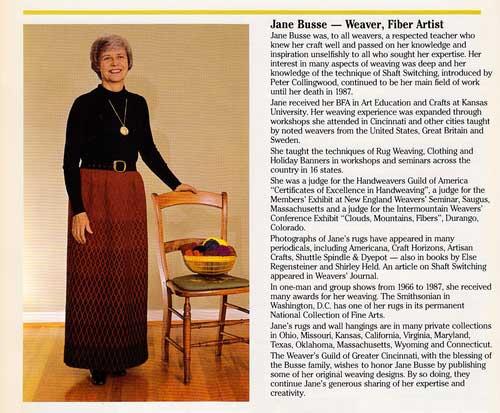 Jane Busse Textile Weaver Fiber Artist
