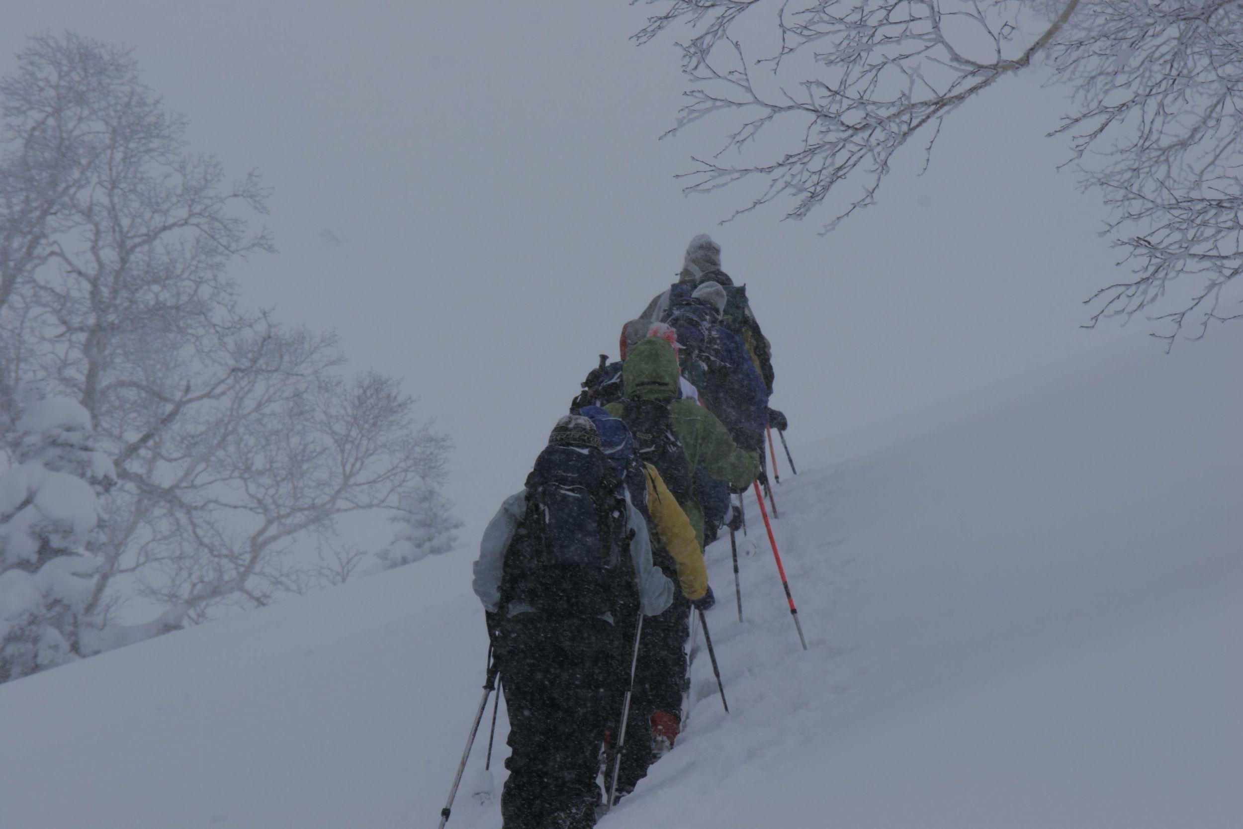 On the hunt for the next deep powder run, Asahi Dake.
